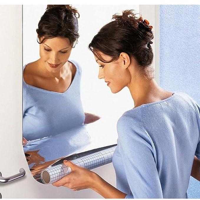 16X Mirror Tile Wall Sticker Square Self Adhesive Room Bathroom Decor Stick US