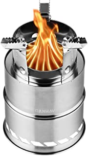 CANWAY Camping Stove, Wood Stove/Backpacking Stove,Portable Stainless Steel Wood Burning Stove with Nylon Carry Bag for Ou...
