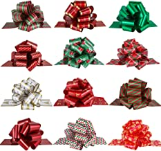 PintreeLand Christmas Pull Bows Large Gift Bows Ribbon 40mm 12PCS for Xmas Present Gift Wrapping, Christmas Decorations, F...