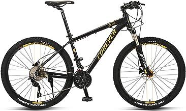 JKCKHA Bicicleta De Montaña, Ruedas De 27,5 Pulgadas, Palancas De Cambio De 30 Velocidades, Cuadro De Aluminio, Suspensión Delantera, Bicicleta De Montaña, Oro Negro
