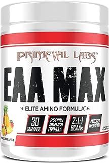 Primeval Labs EAA Max, Amino Acid Supplements, BCAAs, EAAs, Electrolytes, Enhances Performance, Supports Hydration, Improves Metabolism, Mango Pineapple, 30 Servings