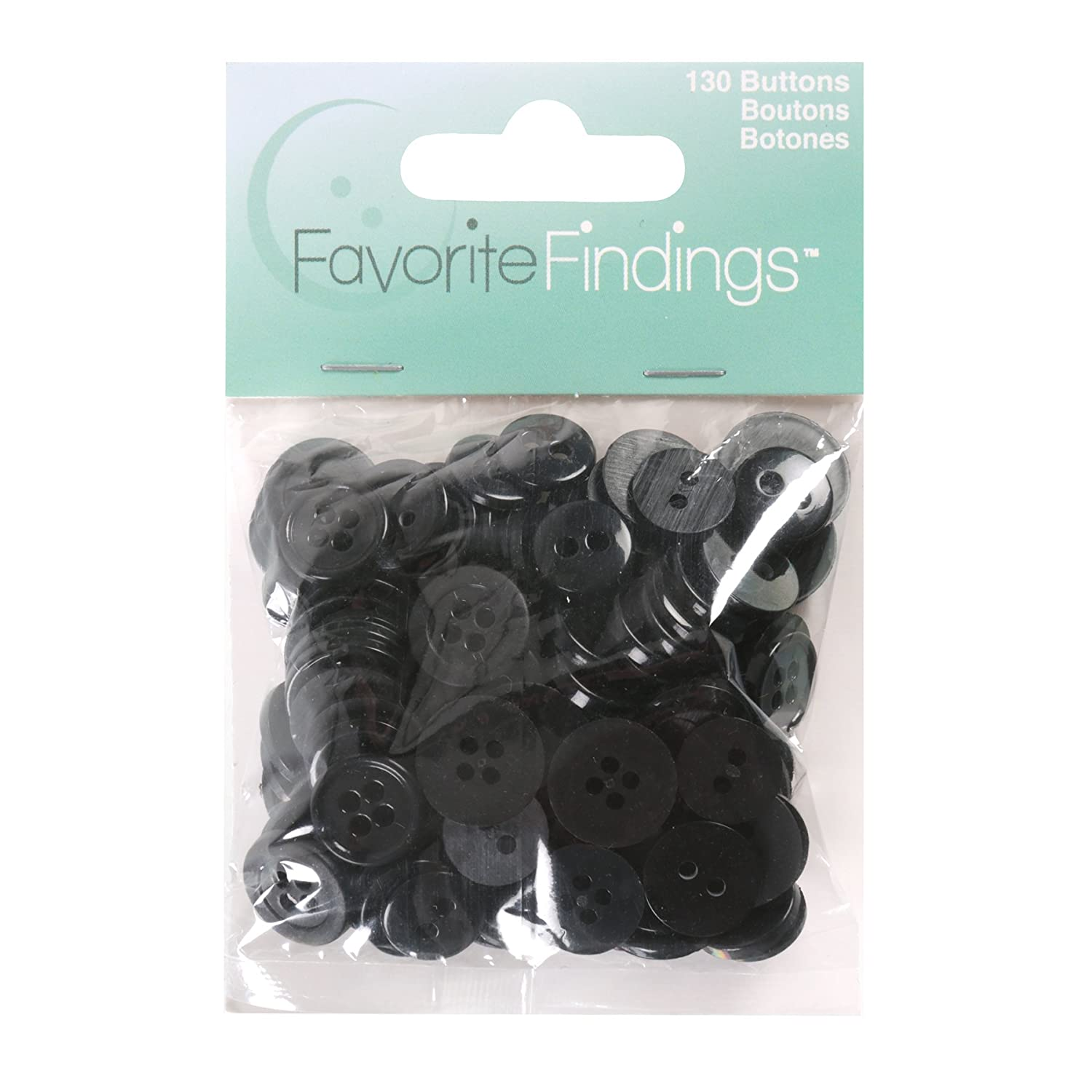 Blumenthal Lansing Favorite Findings Assorted Buttons for Arts and Crafts Black 100 Piece