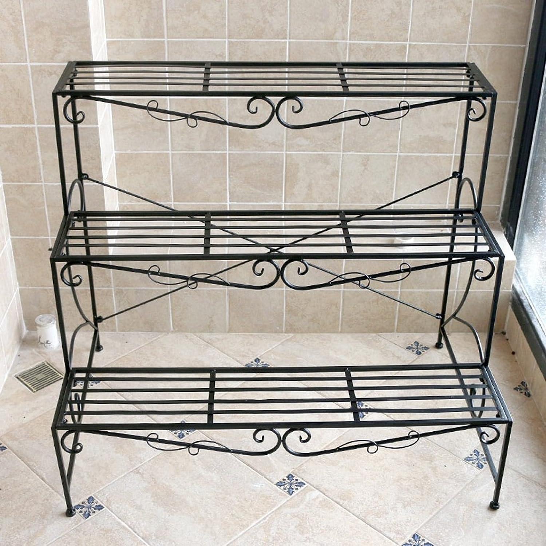 European Wrought Iron Ladder Shelf Multi-Storey Balcony Floor Type Living Room Assembly Plant Flower Pot Shelf Rack Black
