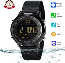 Smart Watch Waterproof Bluetooth Smartwatch Sports Smart Watches for Men Women Boys Kids Android iOS iPhone X 8 7 6 Samsung Huawei with Pedometer Fitness Tracker SMS Call Reminder (Black Steel)