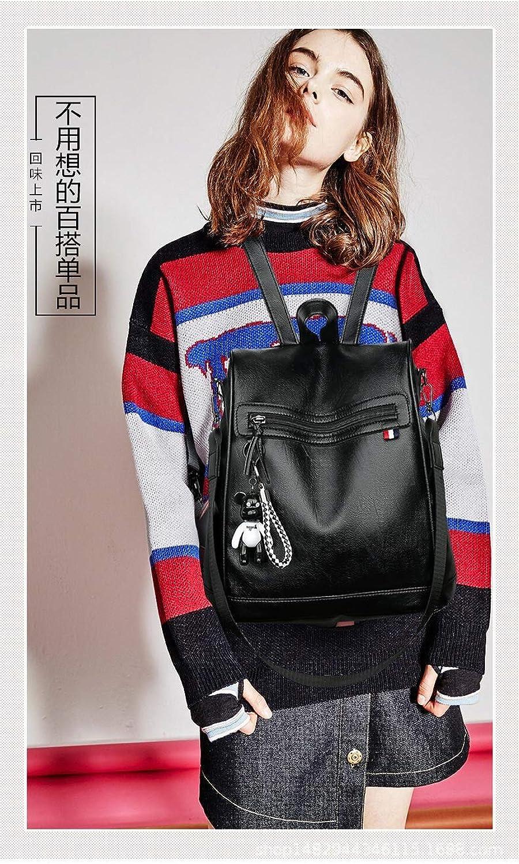 RYRYBH New Backpack Casual Pu Soft Leather Antitheft Multifunction Shoulder Bag Female Student Bag Travel Backpack backpack (color   Black)