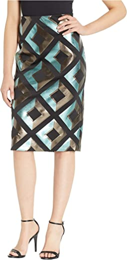 Geometric Foil Printed Scuba Skirt