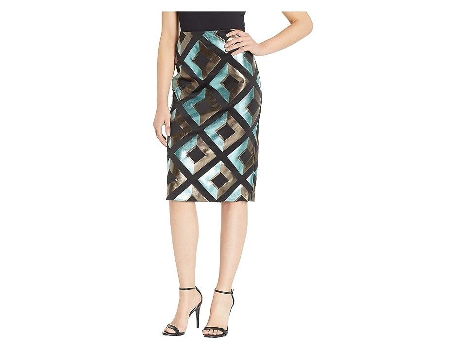 eci Geometric Foil Printed Scuba Skirt (Black/Teal) Women