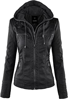 In-fashion style Womens Fashion Faux Leather Detachable Cap Jacket with Pocket