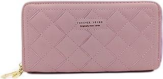 Valerie Women Wallet Clutch Purse Long Double Zipper Wallets Girls Large Leather Purse Card Organizer (Purple)
