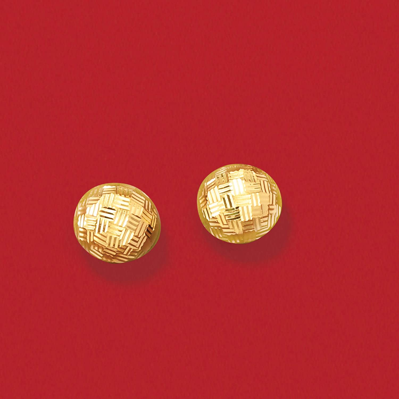 Ross-Simons Italian 18kt Yellow Gold Diamond-Cut Dome Earrings