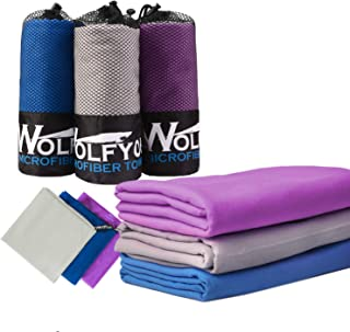 """Wolfyok 2 Pack Microfiber Travel Sports Towel XL Ultra Absorbent and Quick Drying Swimming Towel (58"""" X 30"""") with Hand/Fac..."""