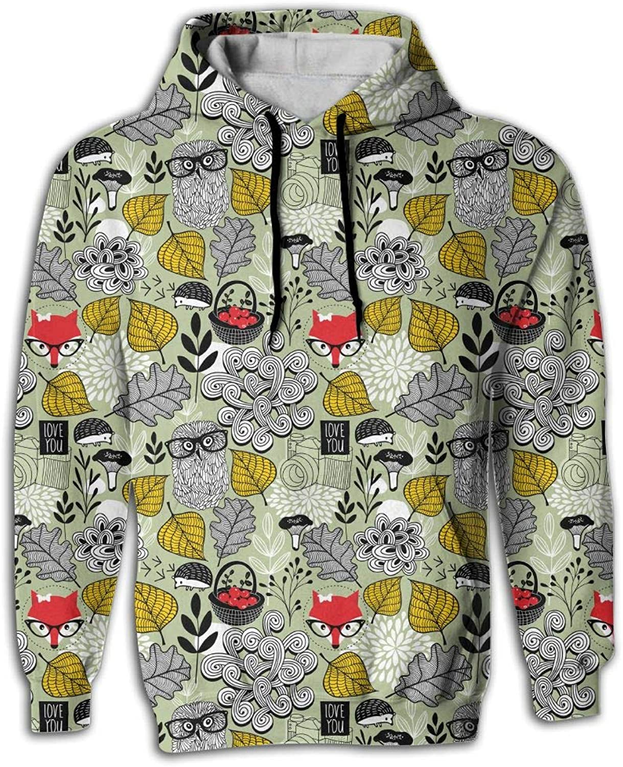 Wkylt Best Big Pockets Lightweight Forest Animals and Owl Glasses Cool Hoodies