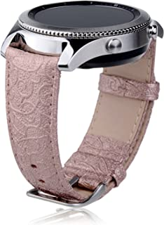 Thankscase Samsung Galaxy Watch 46mm Band, Samsung Gear S3 Classic/Frontier Band, Genuine Leather Wrist Strap Replacement with Embossed Pattern for Galaxy Watch 46mm and Gear S3 only (Rose Gold)