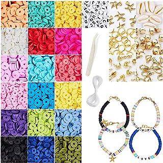 JuneJour 4274PCS Perles Heishi kit Perle Outil de Perle Perles et Assortiments Kits de Perles Perles pour Bracelet Perles ...