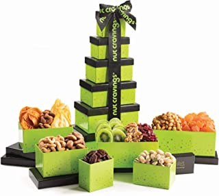 Gourmet Tower Gift Basket, Nut & Dried Fruit Tray (12 Variety) - Edible Care Package Set, Birthday Party Food Arrangement Platter - Healthy Snack Box for Families, Women, Men, Adults - Prime Delivery