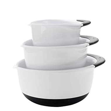 OXO Good Grips Mixing Bowl Set with Black Handles, 3-Piece
