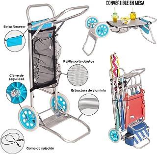 Monty- LOLAhome Carro portasillas Plegable Azul de Aluminio