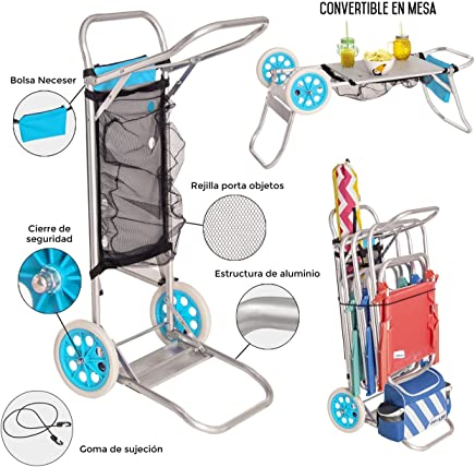 Carro portasillas playa plegable con mesa red y bolsillo porta objetos aluminio