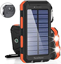 Solar Charger Solar Power Bank 20000mAh Waterproof Portable External Backup Outdoor Cell Phone Battery Charger with Dual LED Flashlights Solar Panel for iPhone Android Cellphones (Black & Orange)