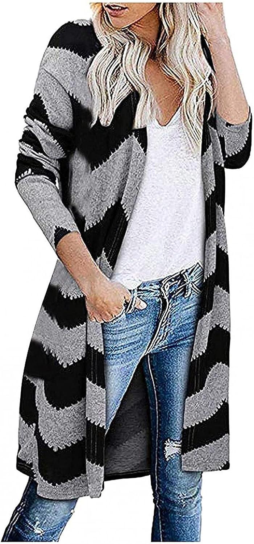 YUNDAN Women's Long Cardigan Open Front Color Block Stripe Casual Cardigan Sweater Loose Fit Coat Outwear