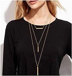 3PC Layered Bar Pendant Necklaces Boho Stick Bar Choker Necklace Minimalist Y Necklaces for Women Girls