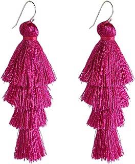 4 Four Tassel Earrings Tiered Thread Statement Layered Pierces Hook Tassel Dangle Earrings