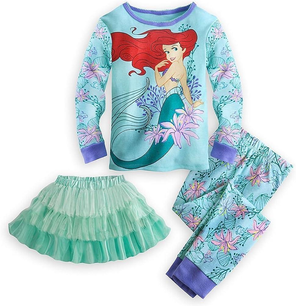 Disney Store Ariel Girl 3 PC Tight Fit Long Sleeve Pajama Tutu Set (5)