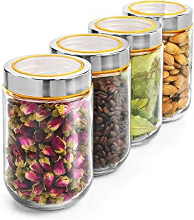 Relaxdays Recipientes para Alimentos Herm/éticos con Tapa Vidrio Almacenaje 6 Uds Transparente Vintage 700 ml