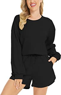 LOLLO VITA Women's Athletic Clothing Sets 2 Pieces Pajamas Set Casual Lounge Set Tracksuits Sweatsuits with Pockets