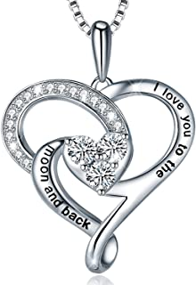 925 Sterling Silver Always My Daughter&Sister Forever My Friend Double Love Heart Pendant Necklace, Mother Daughter Bracelet Jewelry Gifts for Sister Women Couples Wife Mom Girlfriend