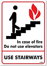 In Case Of Fire Do Not Use Elevators Sign, Large 10 X 7