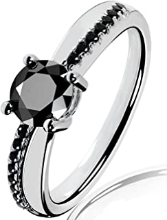 Lars Benz Luxury Ladies Solitaire Engagement Ring with Swarovski Zirconia 1.4 Carat 6 mm Black Certified 925 Sterling Silver