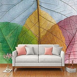 家庭用機器大規模なモダンノベルティカラフルな葉のパターン写真5Dプリントシルククロスファブリック抽象芸術の装飾リビングルームの寝室の壁の壁画ダイニングルームオフィス220Cm(W)X 140Cm(H)(7.22