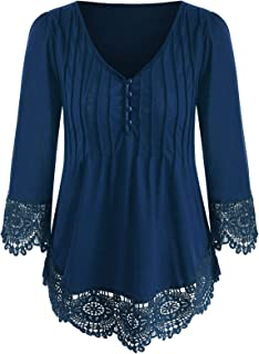 KCatsy Womens Solid Color Lace Stitching Shirt T-Shirt V-Neck Button Detail Top