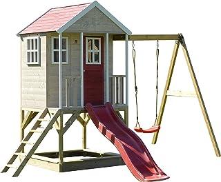Wendi Toys M10 Nordic Adventure House | Rouge De bois Les enfants Maison de jeux Pour le jardin Enfants de jeu 3-7 ans