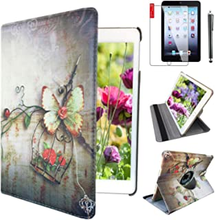 iPad Case Cover Rotating Stand with Wake Up / Sleep Function For Apple ipad 2nd 3rd 4th Generation Model A1395 A1396 A1397 A1416 A1430 A1403 A1458 A1460 or A1459 Red Butterfly