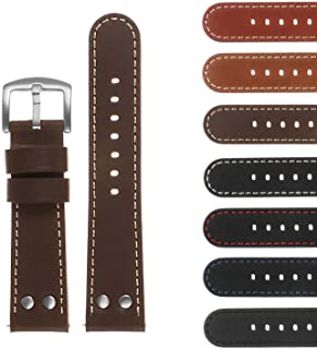 DASSARI Pilot Quick Release Leather Watch Band Strap w/Rivets 18mm 20mm 22mm 24mm