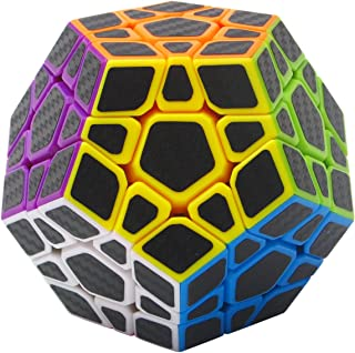 Coolzon® 3x3 Megaminx Magic Puzzle Cube Dodecahedron Speed Cubes Brain Teaser Twist Toy Carbon Fiber Sticker for Speedcubing, Black