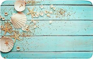 Best Uphome Foam Bathroom Rugs Beach Shell Sea Collection Non-Slip Bath Mat Soft Absorbent Vintage Boho Teal Bath Rug Shower Floor Carpet (20 x 31 inch) Review