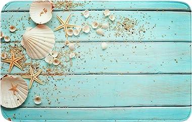 Uphome Foam Bathroom Rugs Beach Shell Sea Collection Non-Slip Bath Mat Soft Absorbent Vintage Boho Teal Bath Rug Shower Floor