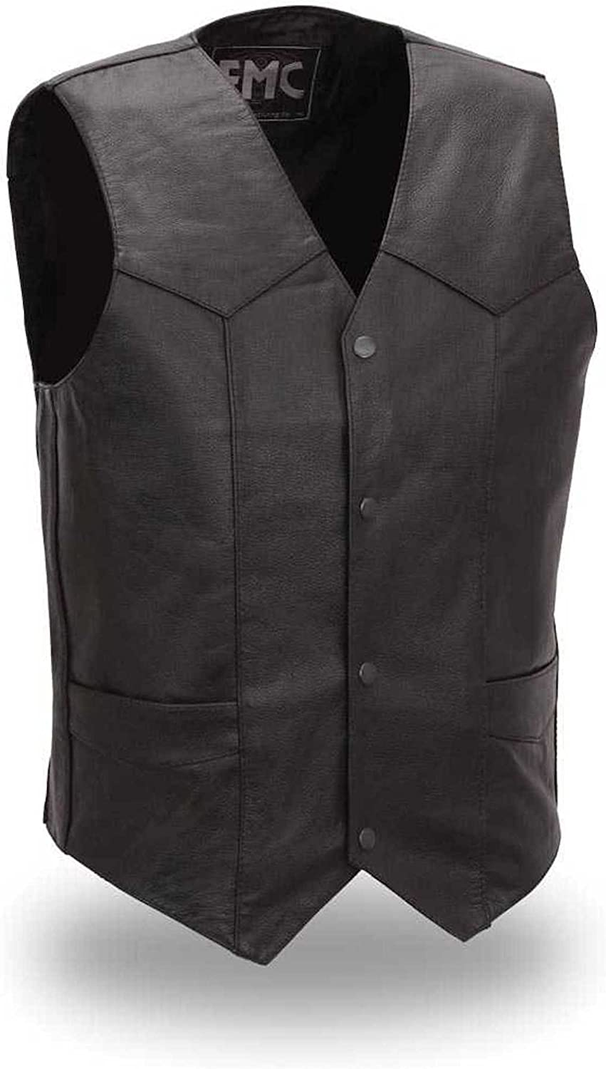 First Manufacturing Mens Western Style Leather Motorcycle Vest with Gun Pockets