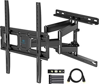 PERLESMITH TV Wall Mount Full Motion for Most 32-55 Inch Flat Curved TVs with Swivels, Tilts & Extends, Dual Articulating ...