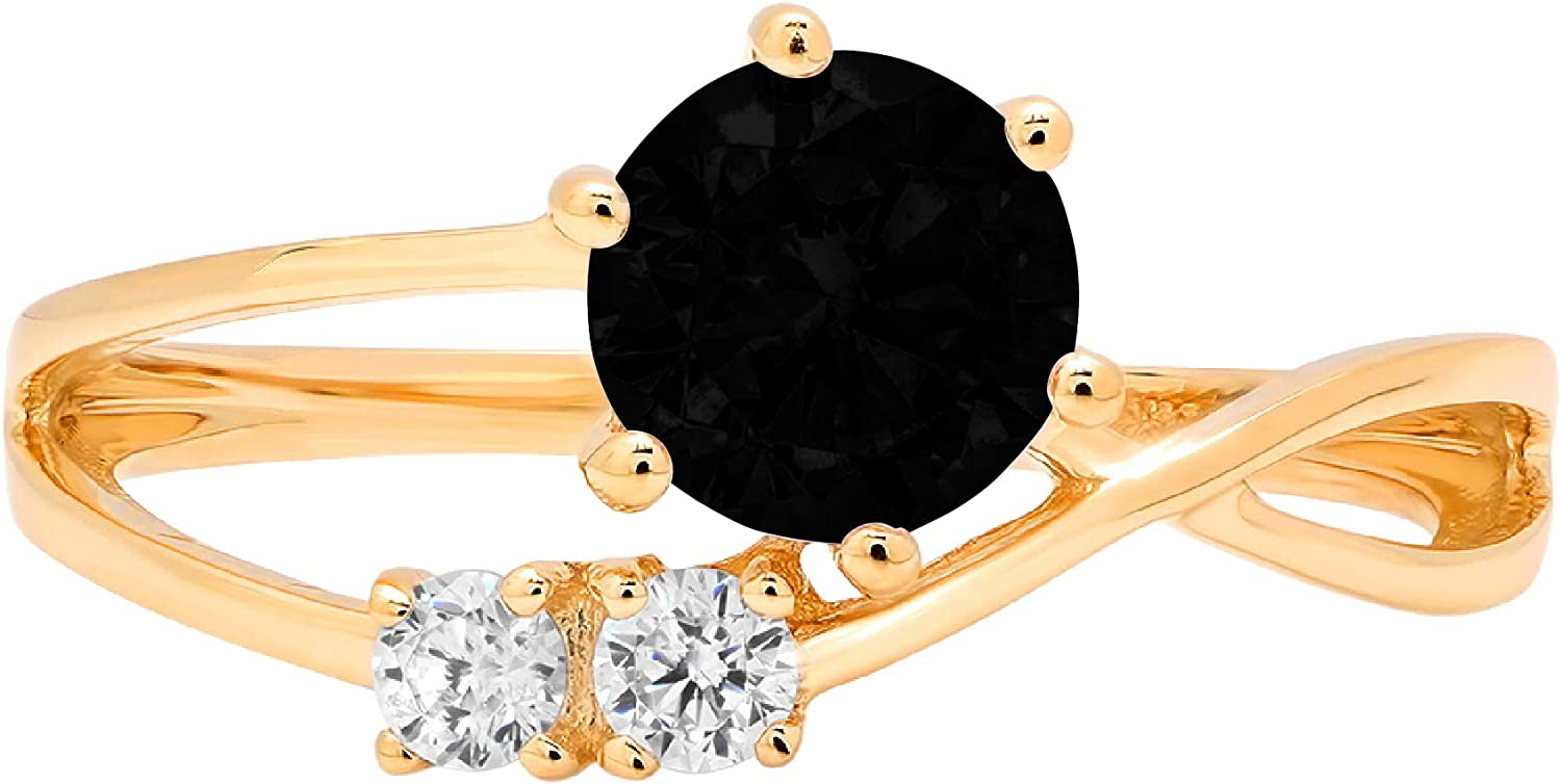 0.79ct Round Cut 3 stone love Solitaire Flawless Natural Black Onyx Gemstone Ideal VVS1 Engagement Promise Statement Anniversary Bridal Wedding with accent Designer Ring Solid 14k Yellow Gold