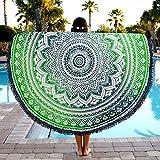 Aakriti Toalla de playa redonda con degradado estilo mandala indio, tapiz hippy, boho, mantel de algodón, mantel para picnic, esterilla de yoga, chal redondo, 182 cm, algodón, Verde y azul, 180 cm