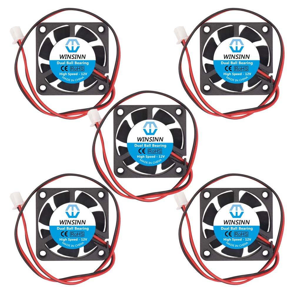 WINSINN Ventilador de 40 mm, 12 V, doble rodamiento de bolas, sin escobillas 4010, 40 x 10 mm, alta velocidad (paquete de 5 unidades)