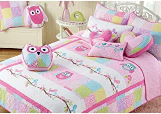 2 PC Twin Quilt & Sham Set Owl Birds Pink Turquoise Green Cotton Girl Bedding