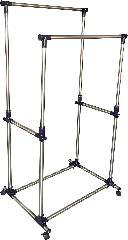 EWEI'S HomeWares Double Rail Adjustable Telescopic Rolling Garment Rack