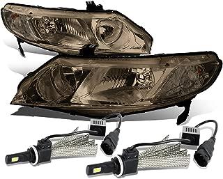 For Honda Civic 8th Gen 4DR Sedan Pair of Smoked Lens Clear Corner Headlight + 9006 LED Conversion Kit