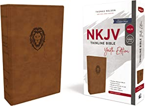 NKJV, Thinline Bible Youth Edition, Leathersoft, Brown, Red Letter Edition, Comfort Print: Holy Bible, New King James Version