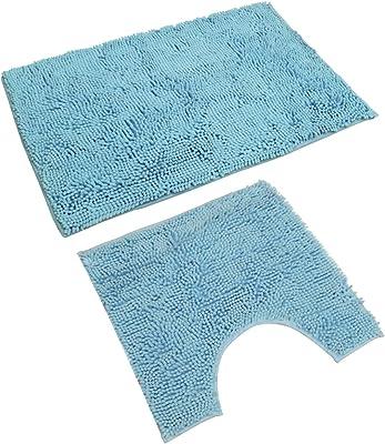 Cabilock - Juego de 2 alfombras de baño de chenilla para baño en forma de U, para bañera de hidromasaje, barra de cocina, 2 unidades, Chenilla, El azul claro, 80X50CM